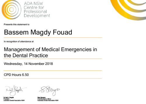 Management of medical emergencies in the dental practice. 14th of November 2018